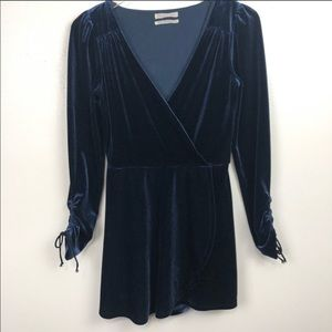 Urban Outfitters Velour Romper Long Sleeves